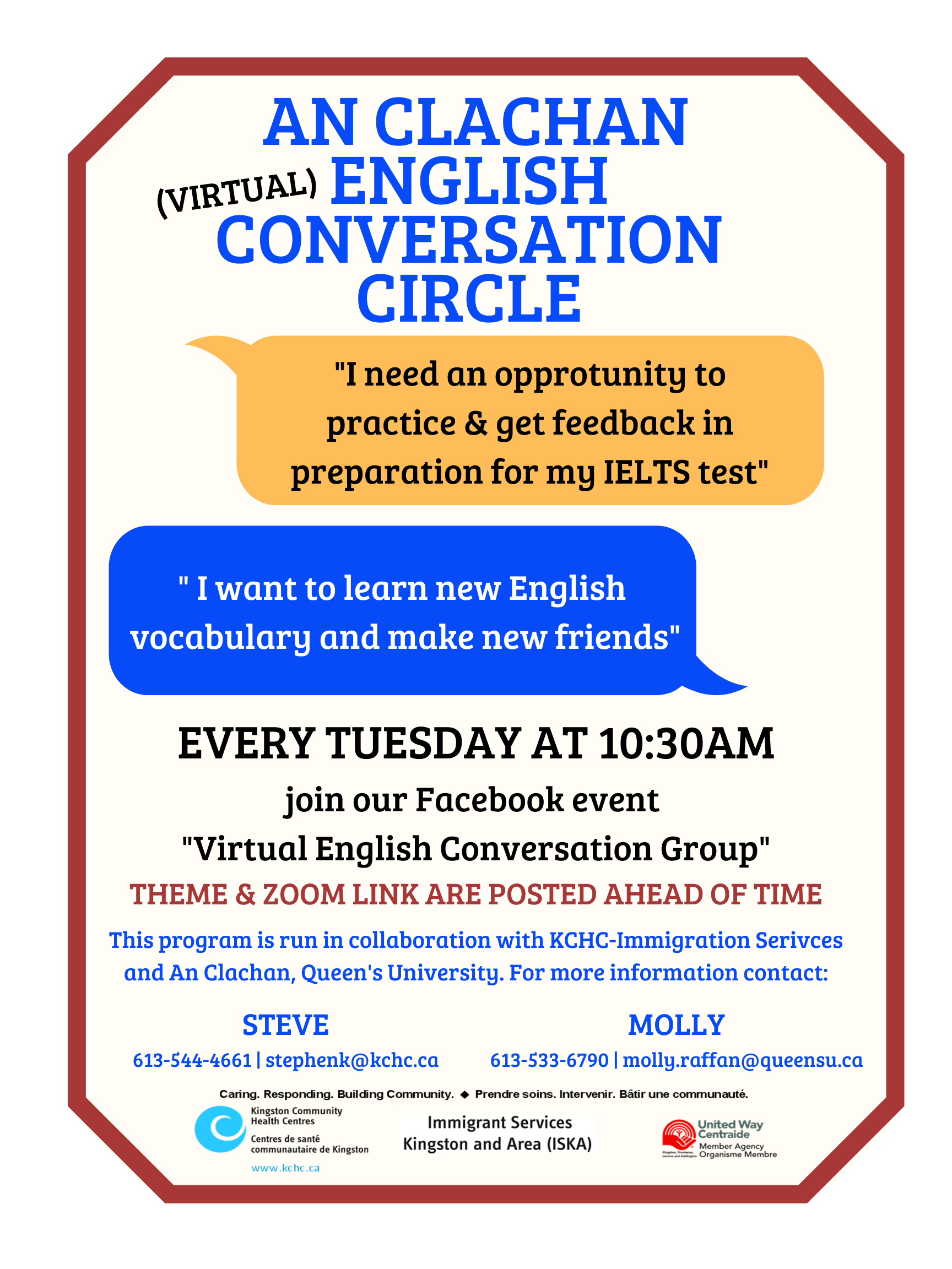 Poster: English Conversation Circle with KCHC Tuesdays at 10:30 on Zoom. Join AC Conversation Circle Facebook group for links & updates.